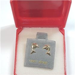 14K Yellow Gold Dophin Screwback Earrings, Made in Canada, Suggested Retail Value $200