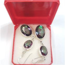 Silver Rainbow Topaz Earrings (~weight 8g), Suggested Retail Value $300