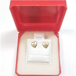 14K Yellow Gold Heart Shape Earrings, Made in Canada, Suggested Retail Value $200