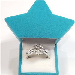 Silver 7 Diamonds Ring (~Size 7) (~weight 3.3g), Suggested Retail Value $180