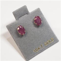 10K Yellow Gold Ruby(1.6ct) Earrings, Made in Canada, Suggested Retail Value $300