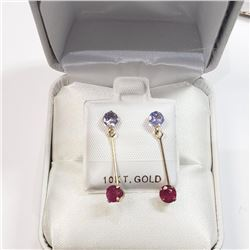10K Yellow Gold Tanzanite(0.55ct) Ruby(0.52ct) Earrings, Made in Canada, Suggested Retail Value $600