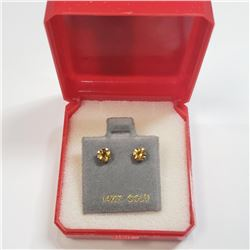 14K Yellow Gold Citrine(0.6ct) Earrings, Made in Canada, Suggested Retail Value $120