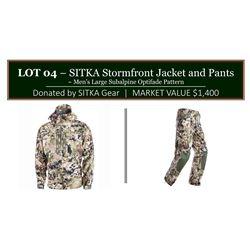 Sitka Stormfront Jacket & Pants, mens size large, subalpine optifade pattern