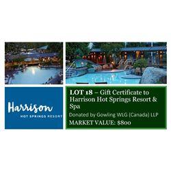 Gift Certificate to Harrison Hot Springs Resort & Spa