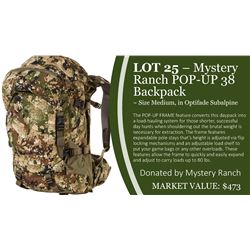 Mystery Ranch Pop Up 38 Backpack in Optifade Subalpine ~ Size Medium