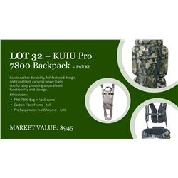 KUIU Pro 7800 pack with frame and suspension