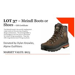 Gift certificate for 1 pair of Meindl boots or shoes