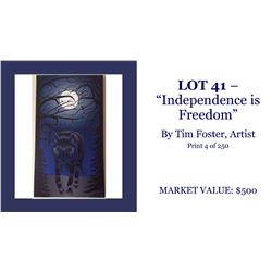 """""""Independence is Freedom"""" wolf art piece"""