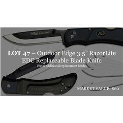 "Outdoor Edge 3.5"" RazorLite EDC Replaceable Blade Knife inc 6 blades"