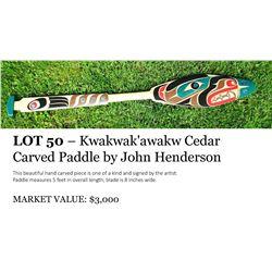 Kwakwak'awakw Cedar Carved Paddle
