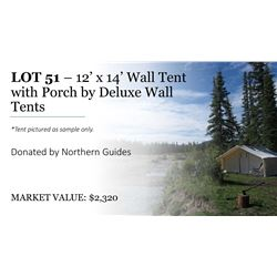 12'x14' wall tent with porch & frame by Deluxe Wall Tents