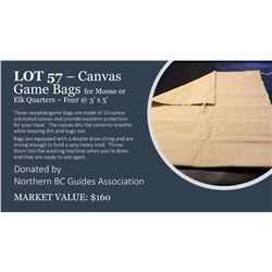 4 - 3'x5' canvas game bags for elk or moose quarters