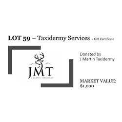 Gift certificate for Taxidermy services
