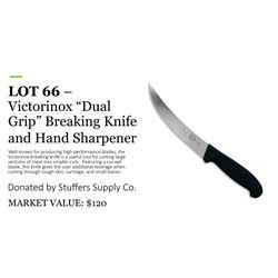"Victorinox ""dual grip"" breaking knife with ergonomic handle and hand sharpener"
