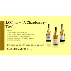 """A Trio of Chardonnay "" Quails Gate Winery"