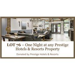 1 night stay  at any Prestige property