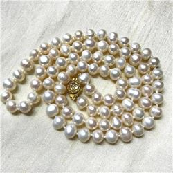 "7-8mm White Freshwater Pearls 25"" Necklace"