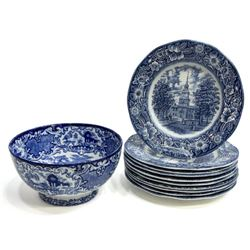 Collection of English Staffordshire Blue Transferware
