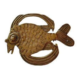 Vintage 1960's Brass Fish Brooch