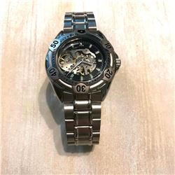 Men's Stainless Steel Mechanical Skeleton Wristwatch