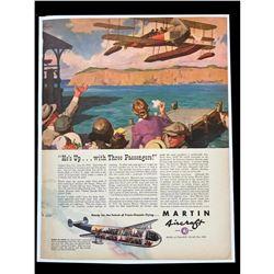 c1940's WWII Era History of Martin Aircraft Magazine Ad
