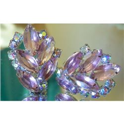 Vintage 1960's Lavender JULIANA Rhinestone Costume Clip Earrings