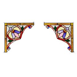 Pair of Stained Art Glass Corner Panels