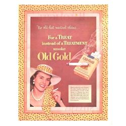 Original 1952 Old Gold Cigarette Advertising Art