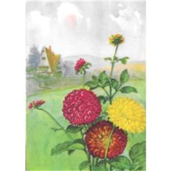 1920's Dahlia Color Lithograph Print