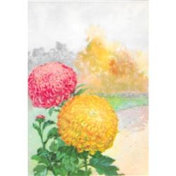 1920's Chrysanthemum Color Lithograph Print