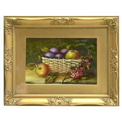 Early 20thc Framed Still Life, Fruit & Foliage Oil Painting