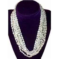 "Vintage Multi-strand Natural White Baroque Rice Pearls 36"" Necklace"
