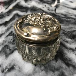Art Nouveau Sterling Silver Cut Glass Floral Embossed Dresser Jar