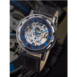 Men's Black Skeleton Mechanical Wristwatch