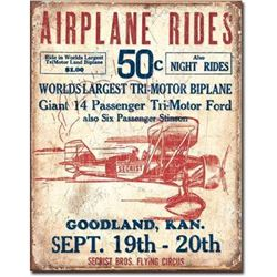 Airplane Rides Garage Pub Bar Metal Sign