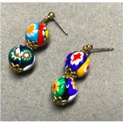 Vintage Venetian Murano Millefiori Post Earrings