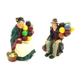Pair of Retired Royal Doulton Balloon Sellers Porcelain Figures