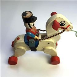 1950's Toy Soldier Riding A Horse Pull Toy