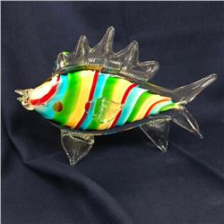 Italian Striped Glass Fish Yacht Beach House Decoration Sculpture