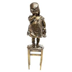 After Juan Clara, Young Girl on Stool Bronze Figure