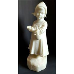 Late 19thc Signed Pochini, Alabaster Child Statue