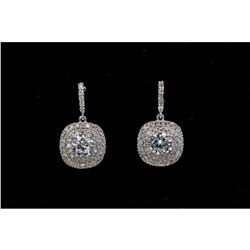 18k White Gold Plated Cubic Zirconia Cz Drop Dangle Earrings