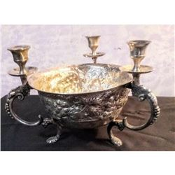 Silverplate Footed Fruit Bowl Candelabra