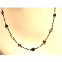 39.68ctw Tourmaline & Sterling Silver 36  Station Necklace