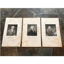 19thc Steel Engravings, Declaration of Independance, Pennsylvania Statesmen