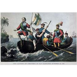 After Nathaniel Currier, Modern Lithograph, Landing Of Columbus At San Salvador