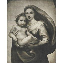 Vintage c1920's half-tone print by Perry Pictures, #322B Sistine Madonna