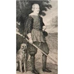 King Philip IV of Spain Hunting Portrait, 19thc Intaglio Etching