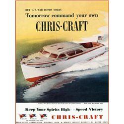 Original 1940's Chris Craft Speed Boat Ad